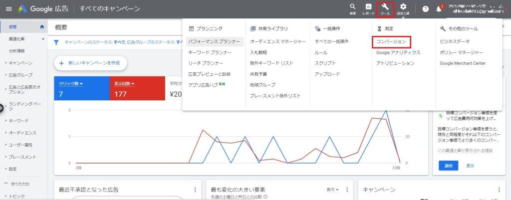 Googleアナリティクスコンバージョンデータのインポート画面1