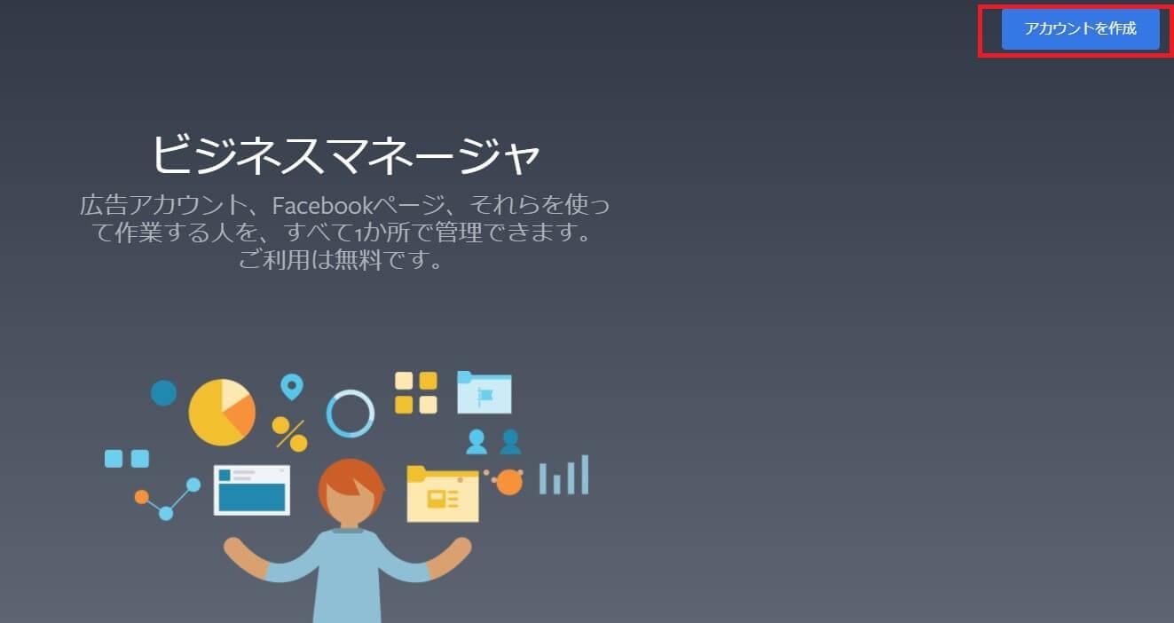 Facebookビジネスマネージャートップページ画像