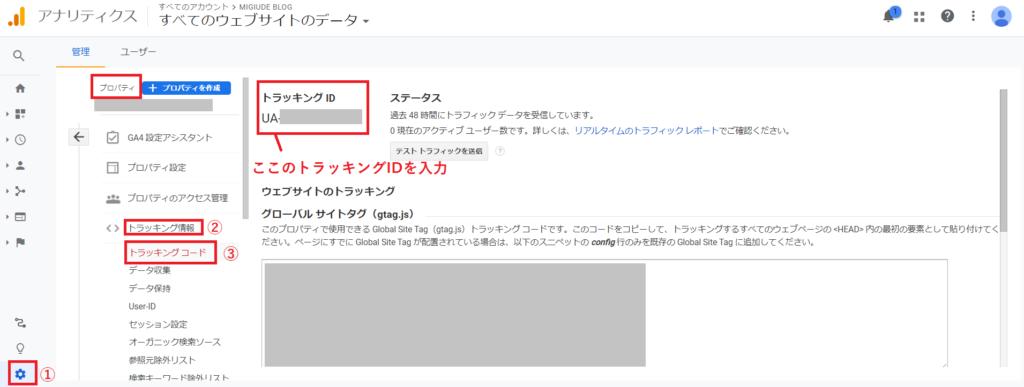 GoogleアナリティクストラッキングID確認画像